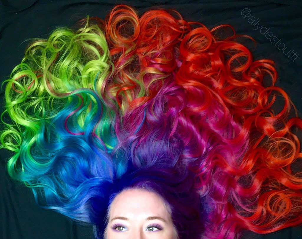 Neon Vivid Rainbow Hair Color