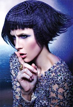`When creating a pattern on the hair, I sometimes draw it on using oil-based Sharpies, dab it on or use drafting tape to create the design and then apply Kryolan spray paint. All of these methods make it easy to apply lighter colors over darker shades.` Nicoletta Gauci