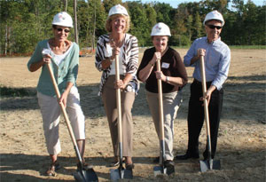 YMCA Wellness Center, Bloomington, Indiana, groundbreaking ceremony: (left) Executive Directors Marlene Vass (1986-1998) and Roberta Kelzer (1998 to present); Becky Howard, Campaign Team Captain; and Tom Porter, Executive Director (1978-1981) and President and Founder of Malibu C