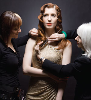 Camera Ready Hair Seminar in action: (left) attendee Ariel Griglin, (right) photographer Jean SweetPhotographer: Jean Sweet; Makeup Artist: James Burns