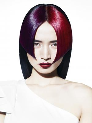 Avant-Garde:_Dark_brunette_with_purple_and_vibrant_red_fringe_by_Tyler_Johnston_