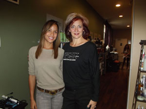 Dania Ramirez and Doreen Guarneri, owner The Look Salon and co-creator of Simply Smooth