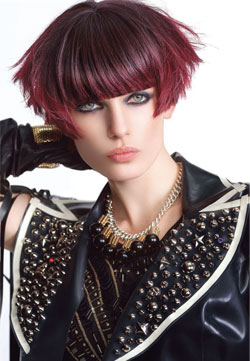 Sherri Jessee creates an up-to-the-minute hair design that`s laced with Sangria, a top Pantone fashion color for fall 2014