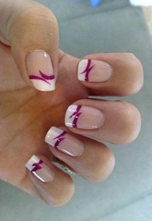 French_manicure_with_deep_pink_lines_