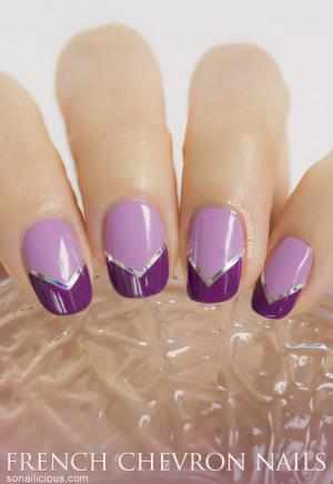 French_manicure_in_lilac_with_plum_chevron_tips_