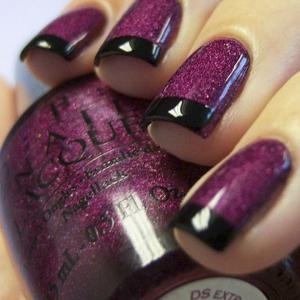 French_manicure_in_maroon_and_black_