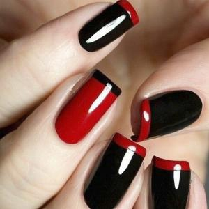 French_manicure_in_red_and_black_