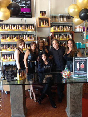 Teresa Giudice (front center) joins Joseph Secreti, owner of Cactus Salon & Spa and the salon team to benefit those impacted by Hurricane Sandy