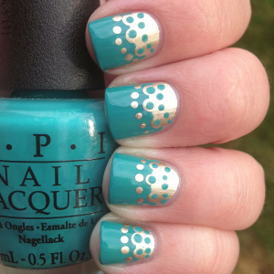 All Laced Up! Turquoise and Gold DIY Nail Art