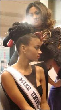 Leila Lopes, who was crowned Miss Universe 2011, gets ready to grace the stage at America`s Beauty Show.