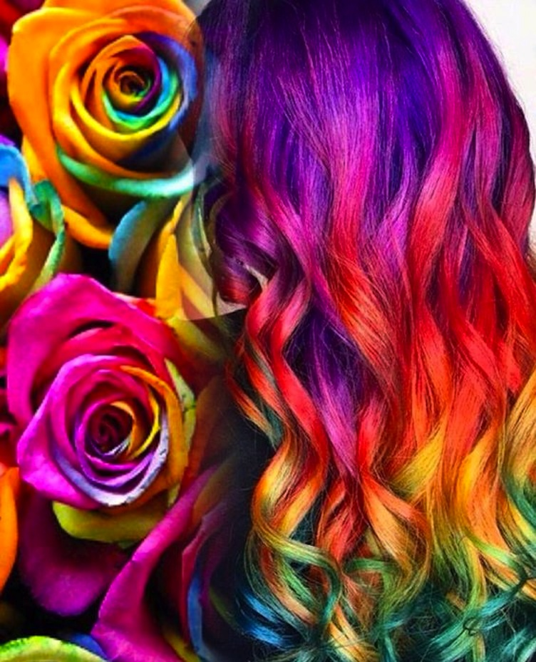 Bright neon mermaid hair color design inspired by multi-hued roses by Ella Parrie IG @ellaschair