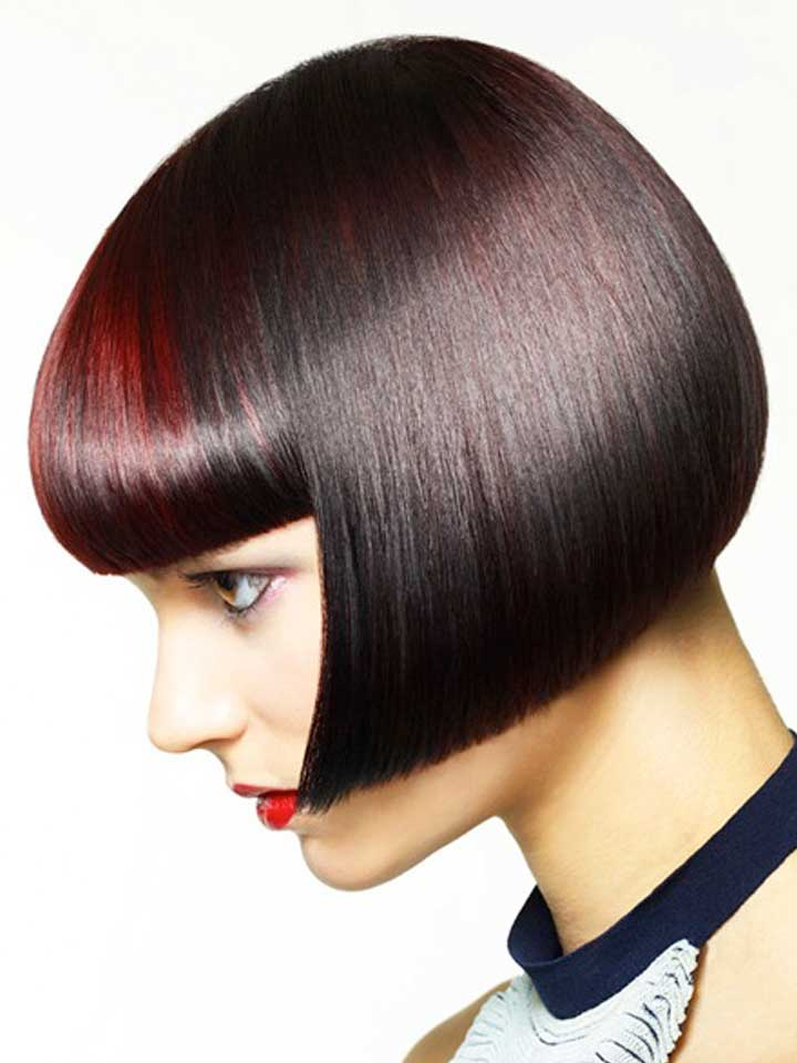 Neutral Brunette with Red Fringe Accent by Matrix