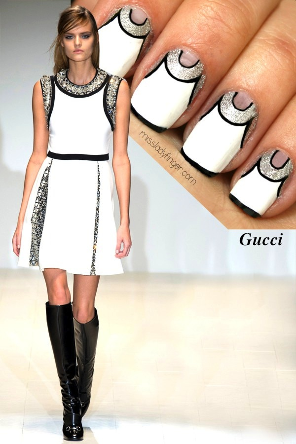 `Miss Lady Finger` creates this nail design, inspired by Gucci Fall `14