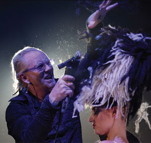 Robert Cromeans excites the crowd with extreme clipper cutting during his Pirates of the Caribbean themed presentation