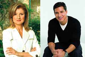 Arianna Huffington and Mario Lopez