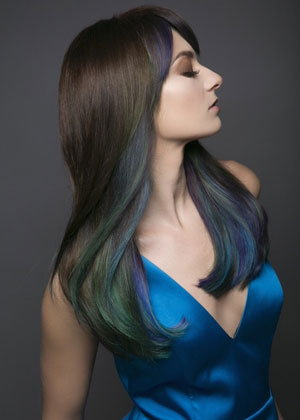 Colorful Hair Color for Brunettes: Hidden Jewels