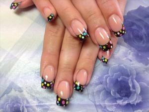 French_manicure_with_multicolored_dots_