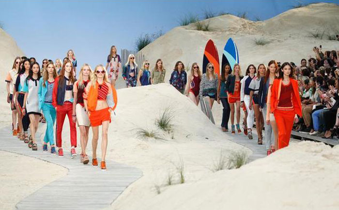 Models at Tommy Hilfiger's show flaunted long, loose beach waves.