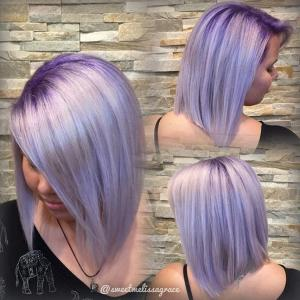 Straight_Smooth_Lobs__Purple_and_lavender_hair_colors_add_an_elegant_touch_to_this_blunt,_all-one-length_lob._Stylist:_Melissa_Smith_IG_@sweetmelissagrace__Tip:_Long_straight_lobs_can_visually_elongate_a_short_neck._