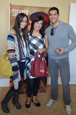 Cara Santana, Surface Stylist Jessica Zimmerman, and Jesse Metcalfe at the Surface event.