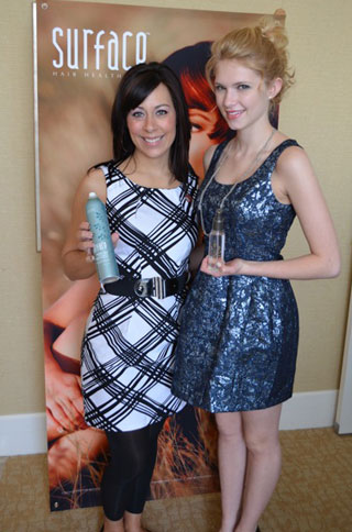 Surface Stylist Jessica Zimmerman poses with Claudia Lee.