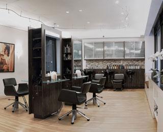 Angelo David Salon's sleek and chic cutting room