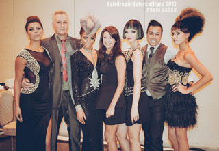 The crew and models at Intercoiffure Symposium Miami 2012