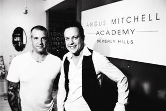 Julian Perlingiero and Angus Mitchell at the Angus Mitchell Academy in Beverly Hills