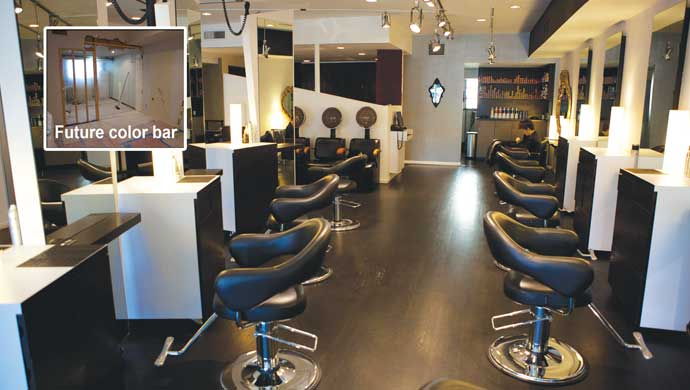 Salon Platinum Black underwent a major renovation in seven days—floors, new walls and equipment.