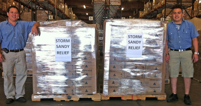PRAVANA donates packets of shampoo and conditioner to those impacted by Hurricane Sandy.