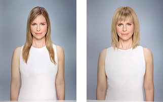 Before and after using Cerafill Defy System, plus Dense Fx and Texture Effect, with cut, color and finish