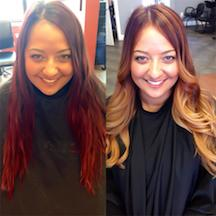 Color Transformation: Washed-Out Red to Honey Ombre
