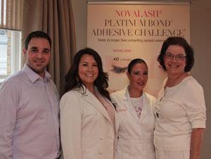From Left, Zachary Falb, UK Business coordinator; Heather Hughes, UK Director; Sophia Navarro,NovaLash Celebrity Lash Artist; and Beth Fetzer, American COO