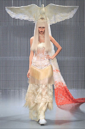 Charlie Le Mindu used Hairdreams` hair extensions to create this spectacular winged wig, plus all other hairpieces and even some clothing for his fall 2011 showing.