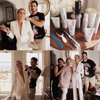 A-lister Robin Wright getting her hair done for the Emmy`s