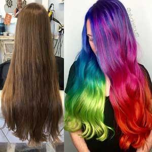 Neon Vivid Rainbow Hair Color